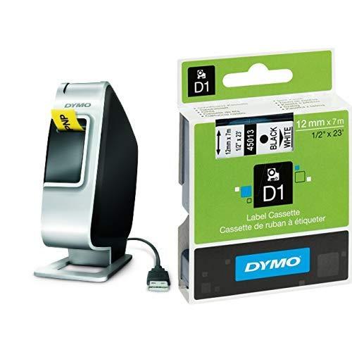 Dymo Plug N Play Tisch-Etikettiergerät USB Lithium-Ionen Akku D1 druckt 2 Zeilen & S0720530 D1-Etiketten (Selbstklebend, für den Drucker LabelManager, 12 mm x 7 m Rolle) schwarz auf weiß