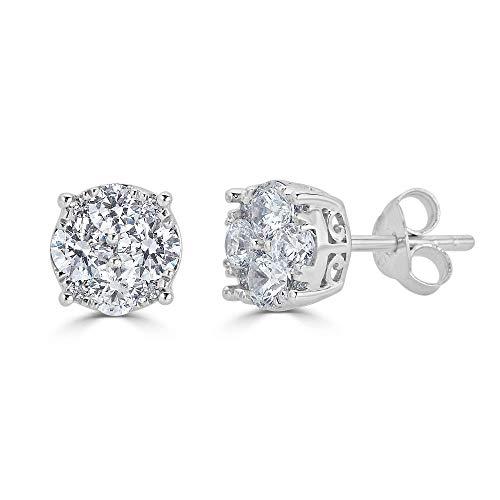 1/2Ct Diamond Stud Earrings Set in Sterling Silver (0.333 Ct Diamond Earrings)