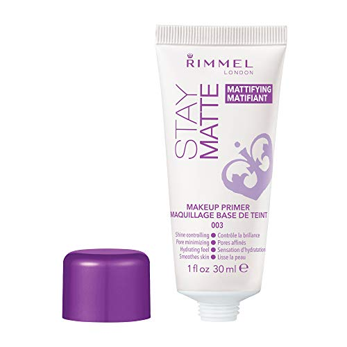Rimmel Stay Matte Primer, 1 Ounce (1 Count), Makeup Primer, Refines Pores, Stops Shine, Smooths Skin, For Use Under Makeup or as a Standalone Skin Mattifying Product