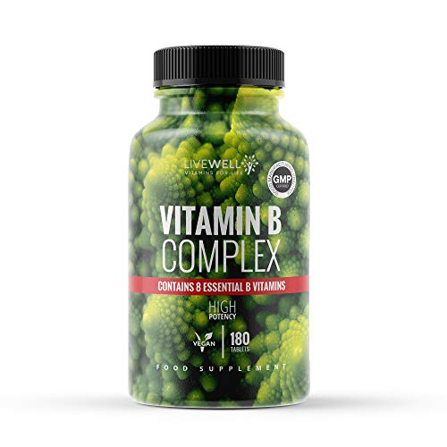 Vitamin B Complex | 180 High Strength Vegan Tablets | Vitamin B1, B2, B3, B5, B6, B12, Biotin & Folic Acid