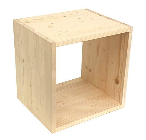 Regalwürfel Flexicube, Grundmodul Fichte Natur, Regalwürfel aus Massivholz, erweiterbar zum Regal, Raumteiler, Bücherregal, echtes Holz