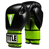 Title Boxing Infused Foam Dignity Training Gloves, Black/Lime Green, 14 oz