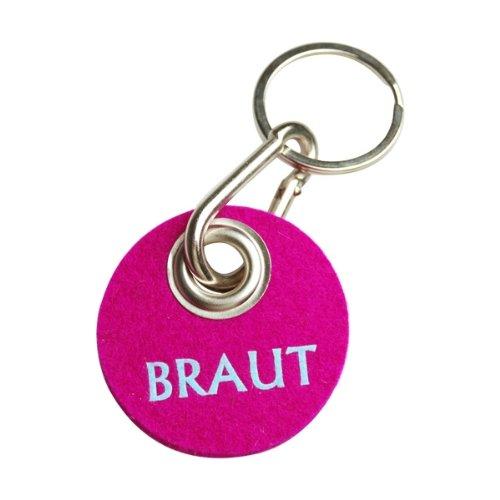 Schlüsselanhänger Filz in Pink, Geschenk für die Braut, Filzanhänger mit Spruch Braut in Blau, Karabiner aus Metall