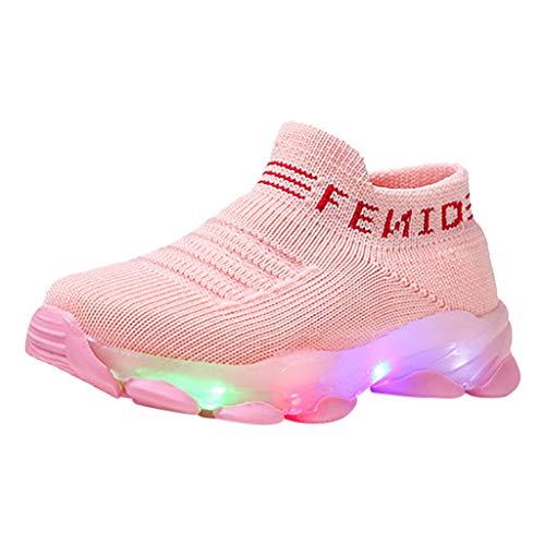 HWTOP Baby Mädchen Jungen Sportschuhe Kinder Socken Schuhe Letter Mesh Led Leuchten Freizeitschuhe Socken Sport Running Sneakers, Rosa, 27 EU