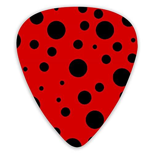 Wxeiab Ladybug Red Animals Paquete de 12 púas de guitarra de alta calidad, juego de 12 piezas de púas de guitarra acústica eléctrica, bajo o ukelele regalos