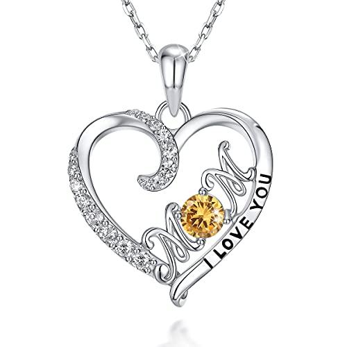 PEARLOVE Love Heart łańcuszek na szyję ze srebra wysokiej próby 925, pozłacany kamień urodzinowy, wisiorek dla matki z cyrkonią dla kobiet e srebro, colore: Srebro 11-listopad