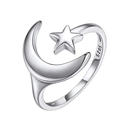 ChicSilver Luna y Estrella Anillo Ajustable Islám Irlandés Plata de Ley 925 Platino Plateado Anillo Delgado de Boca Abierta para Mujeres Niñas Joyería Simple Minimalista de Parejas