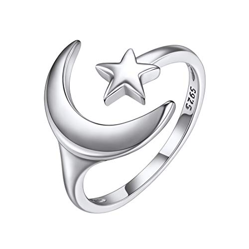 Sterling Silver Moon Star Ring for Women Open Finger Rings Fashion Jewelry Girlfriend Gifts