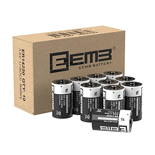 10X EEMB 1/2 AA 3,6V Li-SOCl2 Batterien ER14250 LS 14250/3,6V Lithium-Thionylchlorid 1/2 AA 1200 mAh/Li-SOCl5 Batteries mit extrem hoher Energiedichte Nicht wiederaufladbar