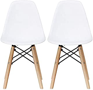 2xhome - Set of Two (2) - White - Plastic Chair For Kids Size Plastic Chair Size Side Chairs Plastic Chairs White Seat Natural Wood Wooden Legs Eiffel Childrens Room Chairs No Arm Arms Armless Plastic
