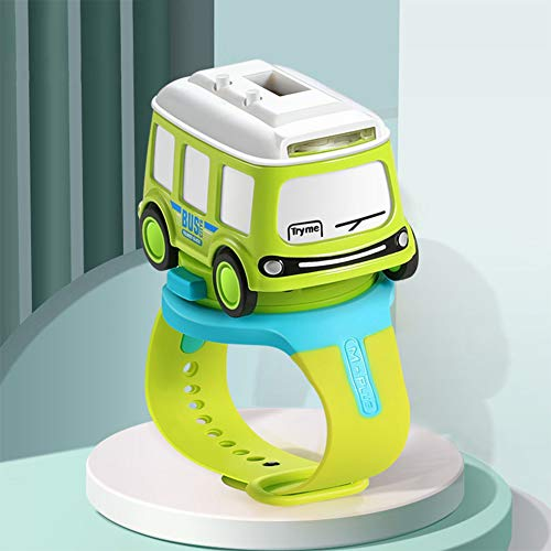 Metermall Games For Mini Alloy Bus Taxi Style Model Pull Back Car Watch Toy Watch Touchable Music Light Gift Bus watch green