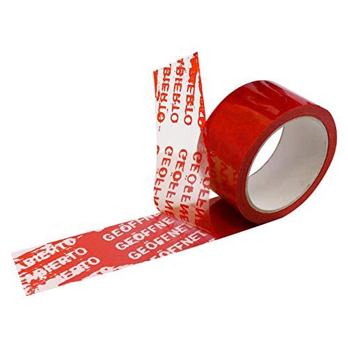6 Rollen Klebeband GEÖFFNET Sicherheitsklebeband nicht manipulierbar Siegel-Band Paketband Packband Security-Tape Originalverschluss mit 5 verschiedenen Sprachen