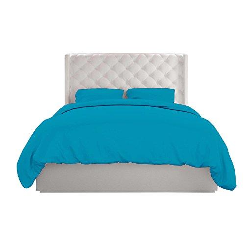 Misr Lin 400 Fils 100% Coton Housse de Couette, Durable et résistant à la décoloration, Ultra Doux, Fermeture à glissière, Solide, Coton, Bleu Turquoise, King