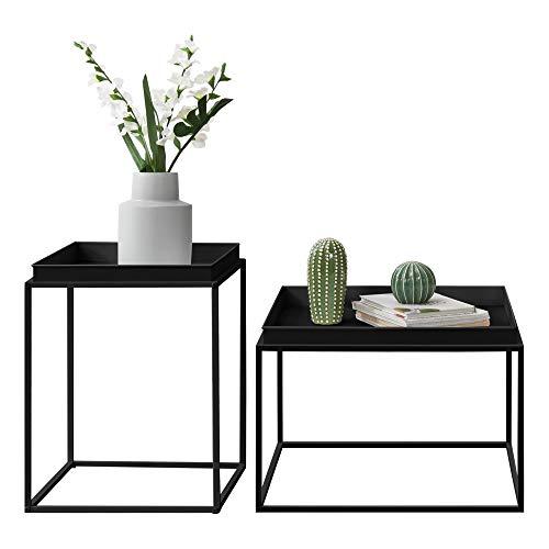 [en.casa] Mesa Bandeja Set de 2 mesas auxiliares 39 x 54,5 x 54,5 cm y 55,5 x 54 x 40 cm Mesa para Servir té o Comida Negro Mate
