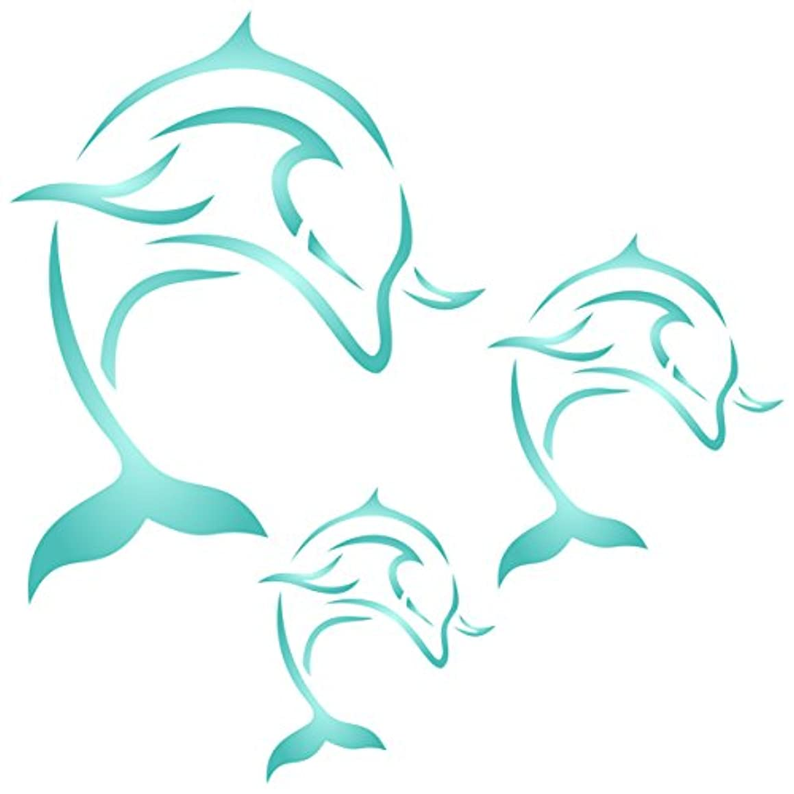 """Dolphin Mural Stencil - (size 10.5""""w x 10.5""""h) Reusable Wall Stencils for Painting - Best Quality Decor Ideas - Use on Walls, Floors, Fabrics, Glass, Wood, and More…"""