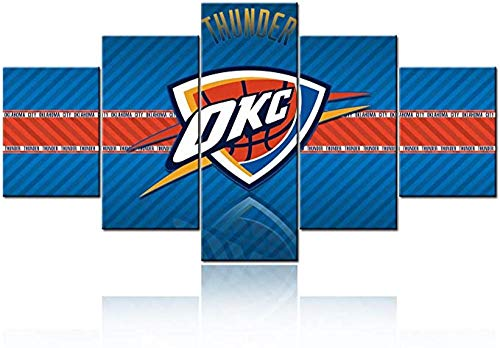 HUAJIE Carteles E Impresiones para Ok-La-Ho-Ma City TH-Un-De-R Logo Pictures Basketball (NBA) Wall Art 5 Panel Canvas Artwork Decoración para El Hogar Cuadros E Impresiones