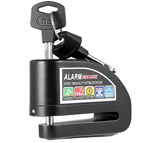 Alarm Disc Lock, Anti-theft Motorcycle Disc Brake Lock, Waterproof 110dB Alarm Sound and 6mm Pin Brake Disc Wheel Security Lock for Motorbike Bike Scooter