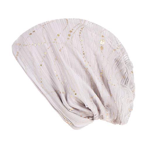 POIUDE Chemotherapie-Kappe Chemo Hut Frau Spitzen Kopftuch Super Weich Slouchy Turban Kopfbedeckungen Kopf Wraps(Weiß, Free Size)