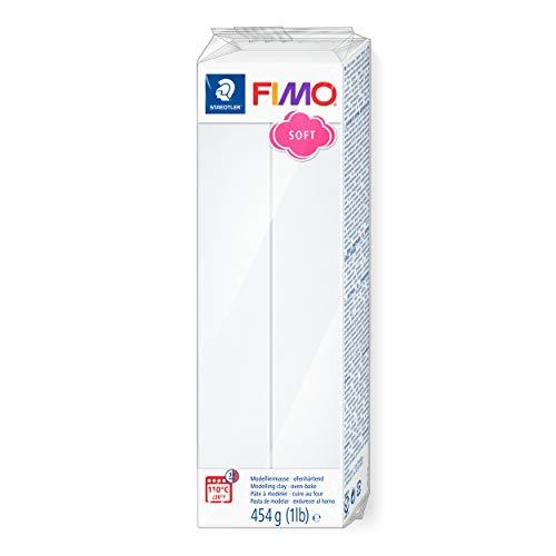 STAEDTLER 8021-0 ST Pasta para modelar de Color Blanco Fimo Soft. Caja con 1 Pastilla de 454 Gramos
