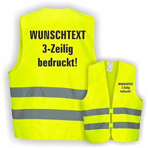 Warnweste GELB Sicherheitsweste Weste Ordner Security Crew (Text nach Wunsch 3 Zeilig 1 Weste)