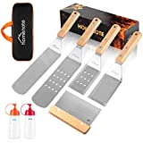HOMENOTE 7Pc Professional BBQ Griddle Accessories Kit in Gift Box - Heavy Duty Wooden Handle Stainless Steel Griddle Tool Set for Men Dad - Great for Grill Flat Top Cooking Camping