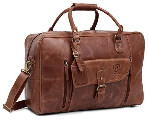 Designer J WILSON London Large Distressed Leather Bag Weekend Holdall Luggage Sports Travel Gym Vintage Carrier Cabin Duffel (Tan) (Distressed Tan)