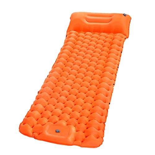 SGODDE Isomatte Camping Selbstaufblasbare, Fußpresse Aufblasbare,leichte Rucksackmatte für Wanderungen zum Wandern auf Reisen,langlebige wasserdichte Luftmatratze kompakte Wandermatte Orange