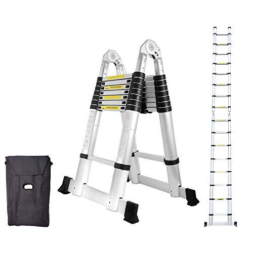 wollketon 5M(2.5+2.5M) Teleskop Klappleiter, Groosse Anwendbarkeit Alu Multifunktionsleiter, Klappbar Leiter, 150 kg Belastbarkeit Leiter für Garten Haushalt