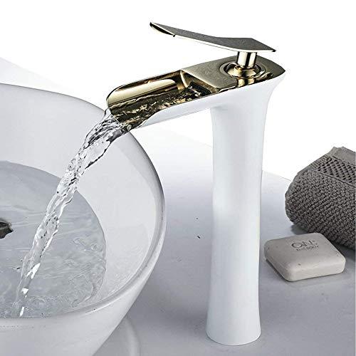 bagno rubinetto miscelatore monoleva cascata per lavabo, oro lucido e bianco (alto)