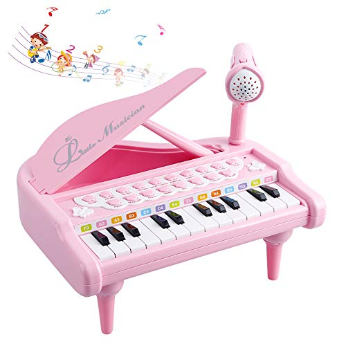 Okreview Piano Toy for Toddler Educational Keyboard Baby Music Instruments with Microphone, 1 2 3 4 Year Old Girls Birthday Gift Pink (24 Keys)