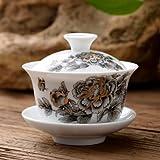 LINLO gaiwan 80cc zuppiera in Porcellana Set di Ciotole in Ceramica Ciotola Coperta con Coperchio Tazza piattino Tazza Ciotole su