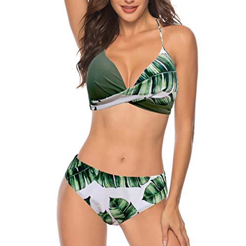 Fenverk Bandeau Twist Push Up Bikini Set Damen Pushup Top und Hose Badeanzug(A#Grün,XL)