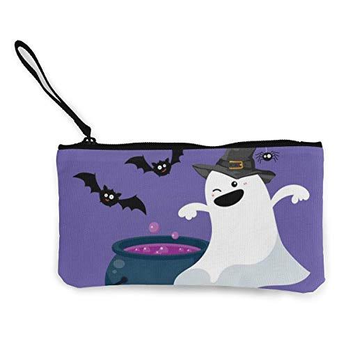 Yuanmeiju Feliz Halloween Lindo Lienzo Cambio Moneda Monedero Bolsa Bolsa Cremallera Titular Monedero Correa de muñeca Maquillaje lápiz Caso Personalizado