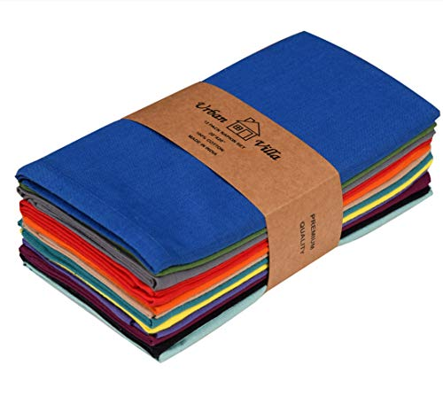Urban Villa Solid Multi Color,100% Cotton Slub,Dinner Napkins,Everyday Use,Premium Quality, Set of 12, Size 20X20 Inch, Over sized Cloth Napkins with Mitered Corners, Ultra Soft, Durable Hotel Quality
