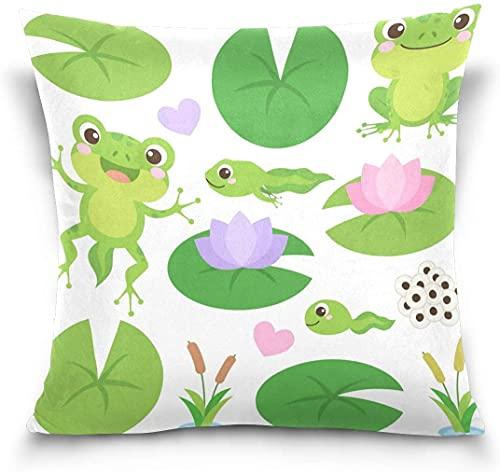 Throw Pillow Case Funda de cojín Decorativa Funda de Almohada Cuadrada, Cute Frog Lotus Flower Hojas Verde Funda de Almohada para sofá Cama (18x18 Pulgadas)