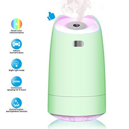 Luoistu USB Humidificador, Mini humidificador portátil de 280 ml con luz Nocturna LED de 7 Colores, Apagado automático, Ultra silencioso (Verde)