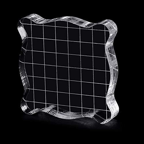 Lunji Bloques acrílico para Sellos Clear con Rejilla DIY Scrapbooking Artesanía (5cmx5cmx1cm)