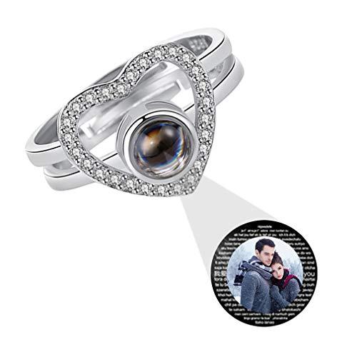 Dames Aangepaste Foto Ring Gepersonaliseerde Belofte Ring 925 Zilveren Projectiering 100 Talen I Love You