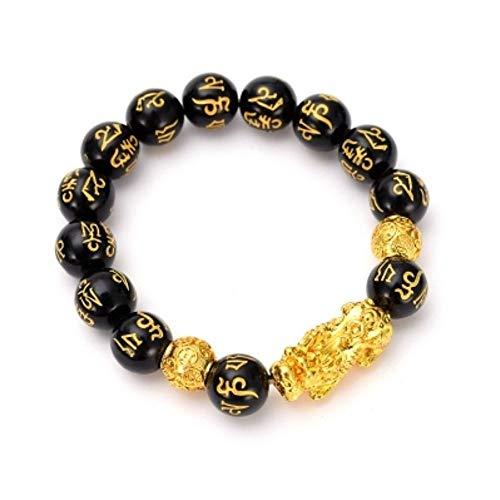 Mantra de Seis Caracteres, Pulsera de Pixiu de Oro, Budismo, Mantra, tótem, Pulsera, Encanto, joyería tibetana para Hombres (Oro)