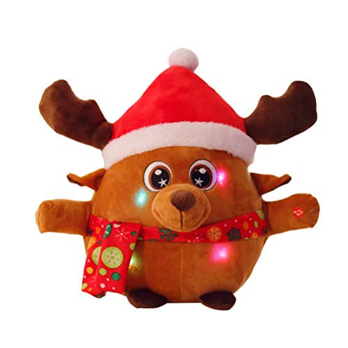STOBOK Plüsch Elch Rentier Weihnachten Deko Figur Xmas Plüschtier Kuscheltier Schmusetier Elektronische mit Licht und Musik Spielzeug Weihnachtsdeko Baby Mädchen Kinder (mit Knopfbatterie)
