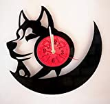Siberian Husky Wall Clock Made from 12 inches / 30 cm Vintage Vinyl Record | Dog Husky | Snoopy Gift...