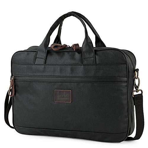 Lois - maletín Cartera portadocumentos para portátil de 15 Pulgadas Lona Denim/Piel rígido Robusto y Interior Acolchado para portátil Calidad y diseño 307840, Color Negro