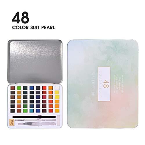 Alician 36/48 pigmento de acuarela nacarado rosa caja de hierro artista caja de metal portátil y paleta acuarela suministros artísticos productos de oficina, color 48 colores perla as shown