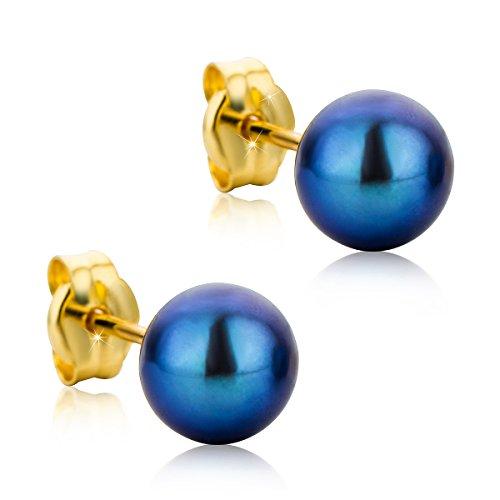 Orovi pendientes de mujer presión Perlas grises 6mm en oro amarillo 18...
