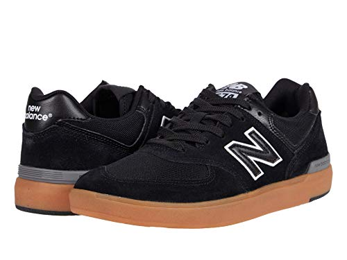 New Balance Men's All Coasts 574 Low Top Sneaker Shoes Black/Gum 9