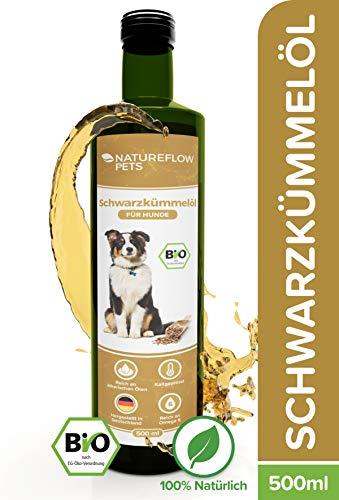 Natureflow Neu Bio Schwarzkümmelöl Hund 500ml - Reines, Kaltgepresstes Bio Schwarzkümmelöl für Hunde - Premium Qualität, Reich an Omega-9 und -6-Fettsäuren und Ätherische Öle…