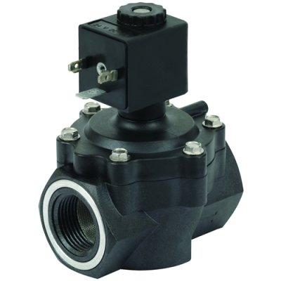 """3/4"""" 2-Way Nylon Solenoid Diaphragm Valve - 24 VDC Spaded from Canfield Industries"""