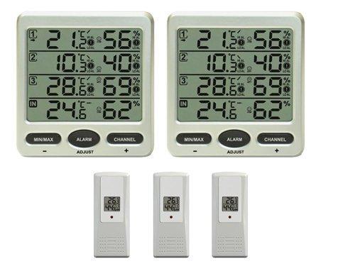 Froggit FT0073TWIN - Termómetro inalámbrico (3 sensores exteriores de humedad, pantalla LCD, mínimo/máximo)