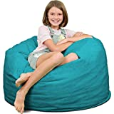 ULTIMATE SACK Bean Bag Chairs in Multiple Sizes and Colors: Giant Foam-Filled Furniture - Machine Washable Covers, Double Stitched Seams, Durable Inner Liner. (3000, Teal Suede)