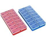 com-four® 2X Dispenser medicamenti in Italiano - Box medicamento per 7 Giorni - 2 Scomparti ciascuno - portapillole - Box Tablet - Dispenser settimanale [Italian] (Blu Scuro + Rosso)